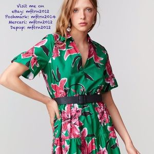 ZARA Floral Print A-Line Midi Dress with Belt